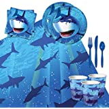 Shark Splash Tableware Party Bundle for 16: Plates, Napkins, Cups, Tablecover, and Cutlery