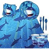 Cedar Crate Market Shark Splash Tableware Party Bundle 16: Plates, Napkins, Cups, Tablecover Cutlery