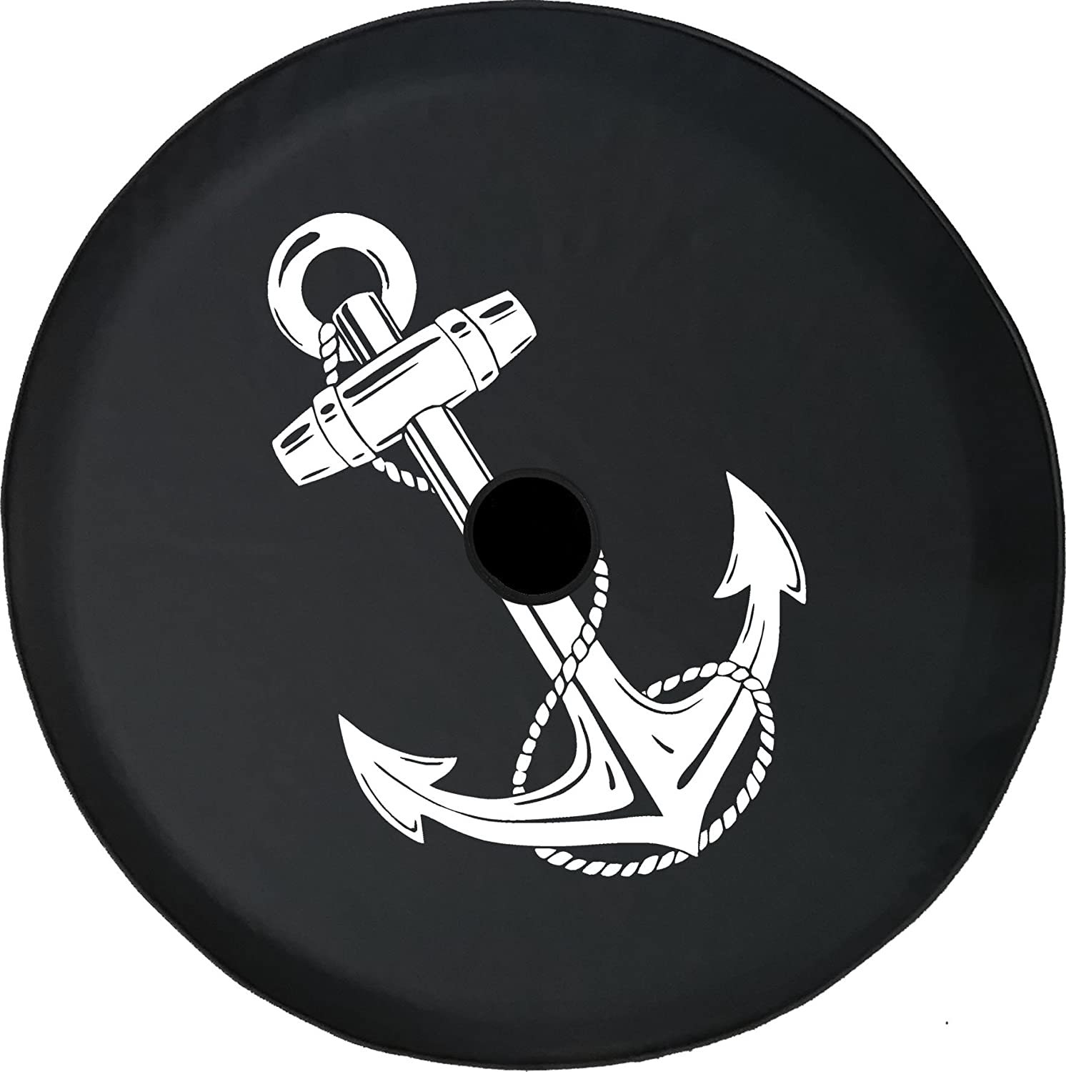American Unlimited JL Series Spare Tire Cover with Backup Camera Hole Ship Nautical Anchor Boating Black 32 in