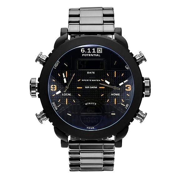 Hombre Cuarzo del Dial Negro Reloj Luminoso Analógico Digital Hombre Diseño Multifuncional: Amazon.es: Relojes