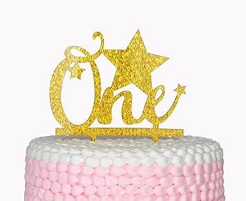 Amazon Com One Happy Birthday Gold Cake Topper Star Cake Topper