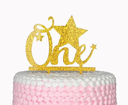amazon com firefairy one happy birthday gold cake topper star cake