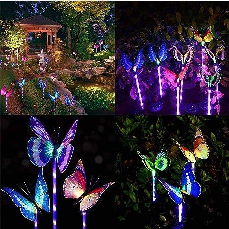 Jardín Luces Solares Al Aire Libre - Paquete De 3 Luces Solares De Juego Luces Led Cambiantes para Jardín Mariposas De Fibra Óptica Decorativas Luz Solar con Una Luz Púrpura: Amazon.es: Hogar