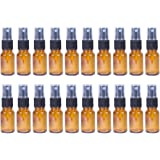 Fine Mist Mini Spray Bottles with Atomizer Pumps - Amber Brown Empty Glass Bottles - Reusable / Refillable - for Essential Oils, Travel, Perfumes , & More - 20-piece Set - 50 ml