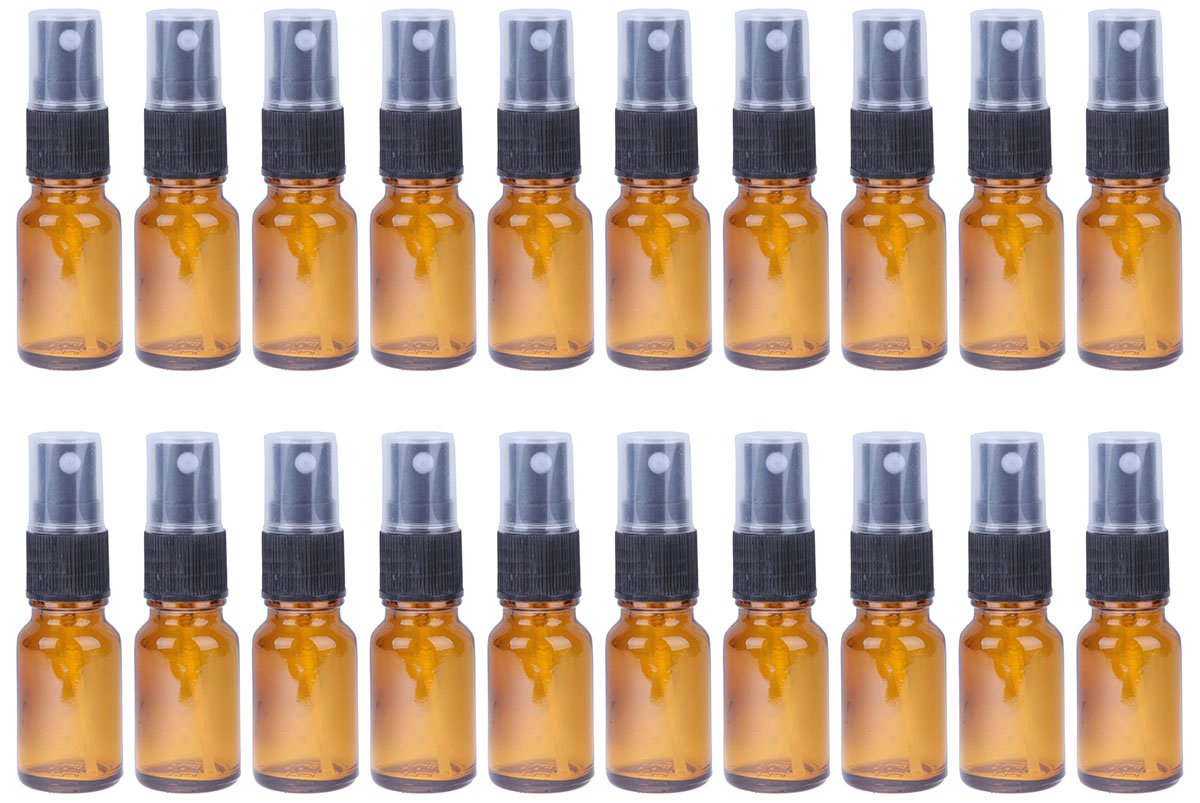 Juvale Fine Mist Mini Spray Bottles Atomizer Pumps - Amber Brown Empty Glass Bottles - Reusable/Refillable Essential Oils, Travel, Perfumes, More - 20-Piece Set - 50 ml