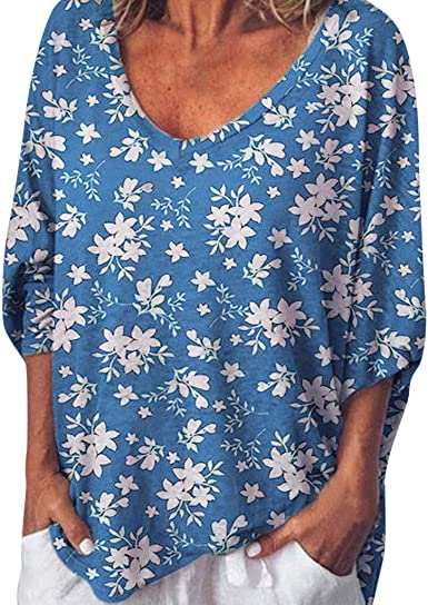 Plus Size for Haalife◕‿Short Sleeve Shirts for Women Casual Floral Printing Loose Comfy Casual Tops Summer O-Neck