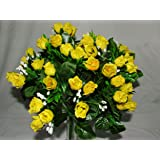 Luscious Artificial Silk Yellow Rose bush - 60 Heads with Gyp - Wedding Grave Home Decoration by A1-Homes