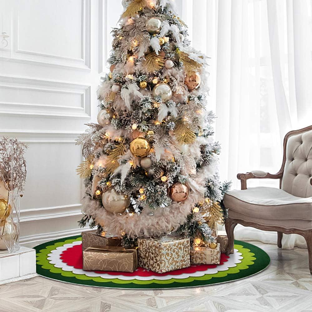 KONKY Decoraci/ón de Navidad de la Alfombra A/ño Nuevo Inicio al Aire Libre del Partido del acontecimiento de la decoraci/ón del /árbol Faldas Creativo de Felpa Blanca /árbol de Navidad Faldas de Piel