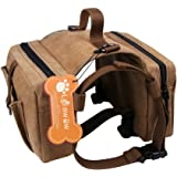 Lalawow Dog Pack Harness Canvas Saddle Bag For Outdoor Travel Training Camping Hiking