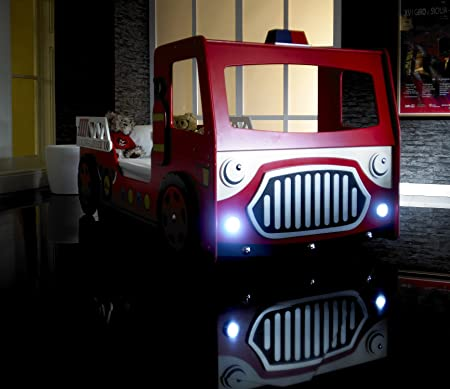 Buckingham Beds Childrens Red Fire Engine Bed Frame With Lights