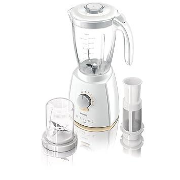 Philips HR2067 Batidora de vaso 2L 600W Metálico, Color blanco, Amarillo - Licuadora (