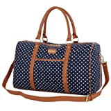 BAOSHA HB-25 Ladies Women Canvas Travel Holdalls Weekend Overnight Travel Bag Handbags Sports Holiday Duffle Tote Bag Hand Luggage Cabin Baggage with PU Leather Decoration