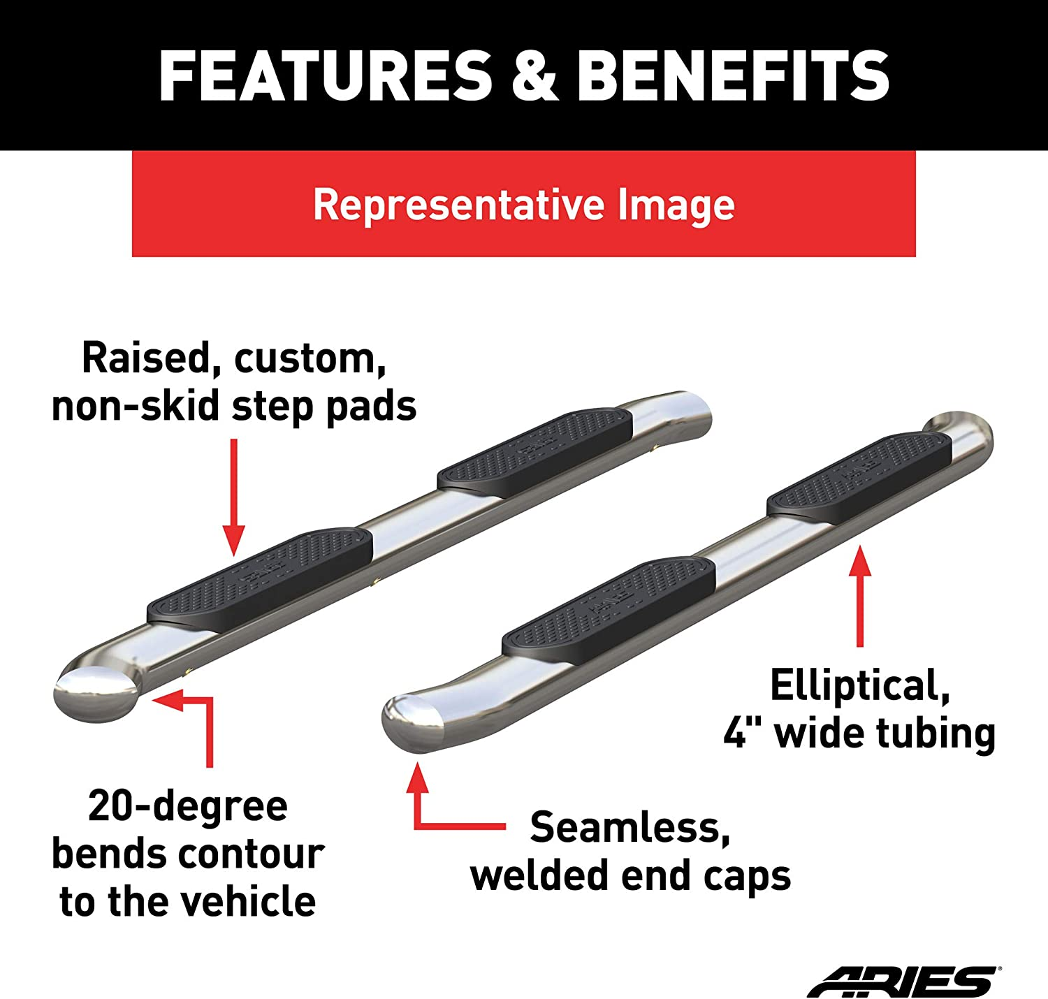 Select Ram 1500 ARIES S225045-2 4-Inch Oval Polished Stainless Steel Nerf Bars