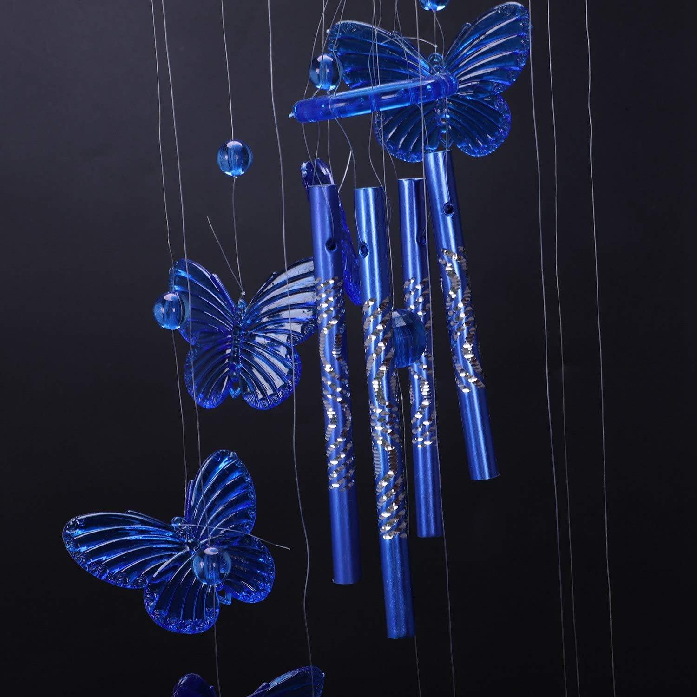 Rosa ACAMPTAR Windspiel Klangroehren Schmetterling Feng Shui Klangspiel Haus Deko