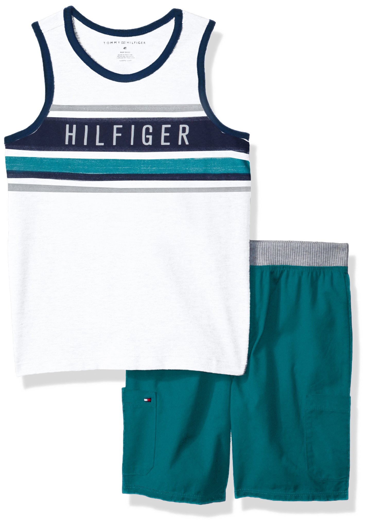 Tommy Hilfiger Toddler Boys' 2 Pieces Tank Shorts Set, White/Green, 3T