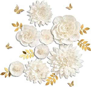 Letjolt White Paper Flowers Handcrafted Dahlia Birthday Party Christmas Decorations New Year Decor Wedding Backdrop Wall Flowers Baby Shower Bridal Shower (White 8Pcs)