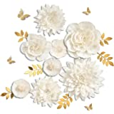 Letjolt White Paper Flowers Handcrafted Dahlia Birthday Party Thanksgiving Day Decorations Wedding Backdrop Wall Flowers…