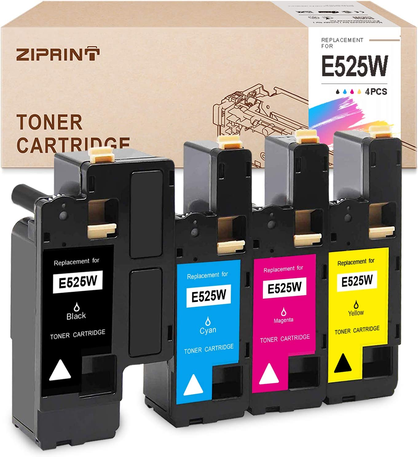 ZIPRINT Compatible Toner Cartridge Replacement for Dell E525W 525 E525 525w to use with Dell E525W Color Laser Printer (Black 593-BBJX, Cyan 593-BBJU, Magenta 593-BBJV, Yellow 593-BBJW, 4-Pack)