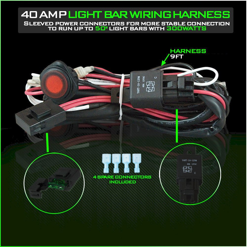Led Light Bar Wiring Harness 12v 40 Amp Relay With Heavy 1940 Ford Duty 16 Ga Awg Wire For Off Road Atv Bars Up To 300w 50 Inches On Switch