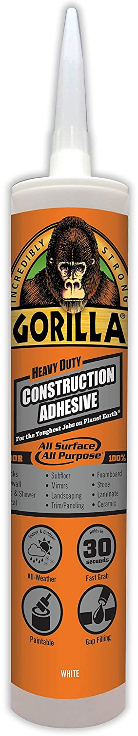 Gorilla Heavy Duty Construction Adhesive, 9 ounce Cartridge, White