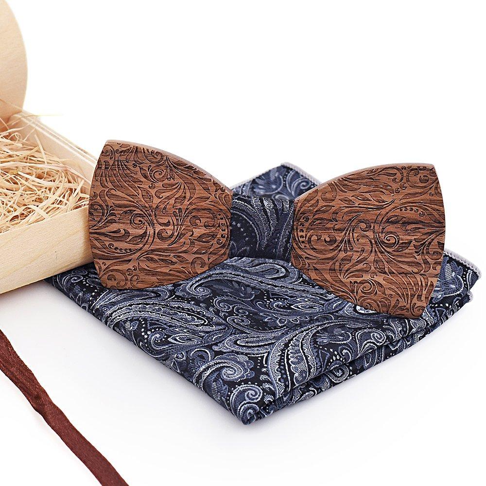 Handmade Solid Wooden Bow Tie Creative Wedding Wood Necktie Bowtie with Box Groom