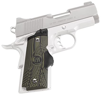 Crimson Trace LG-911 Master Series Lasergrips Red Laser Sight Grips for  1911 Compact Pistols - G10 Green/Black