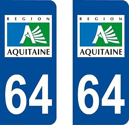 2 adhesivos estilo placa de matrícula del departamento 64 (Francia).: Amazon.es: Coche y moto