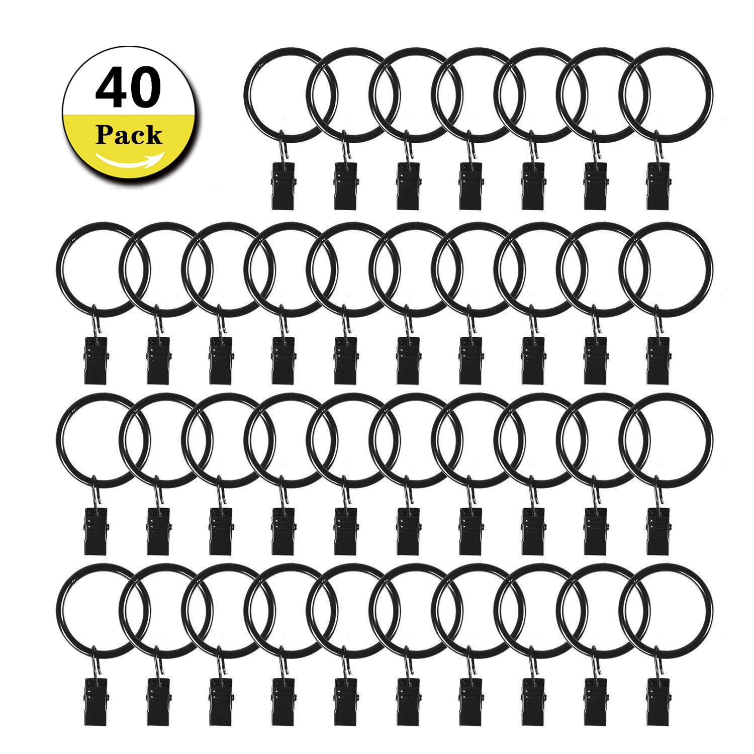 40 Pack Curtain Clip Rings Stainless Steel Metal Decorative Drapery Window Curtain Ring with 1.26 inch Interior Diameter,Black