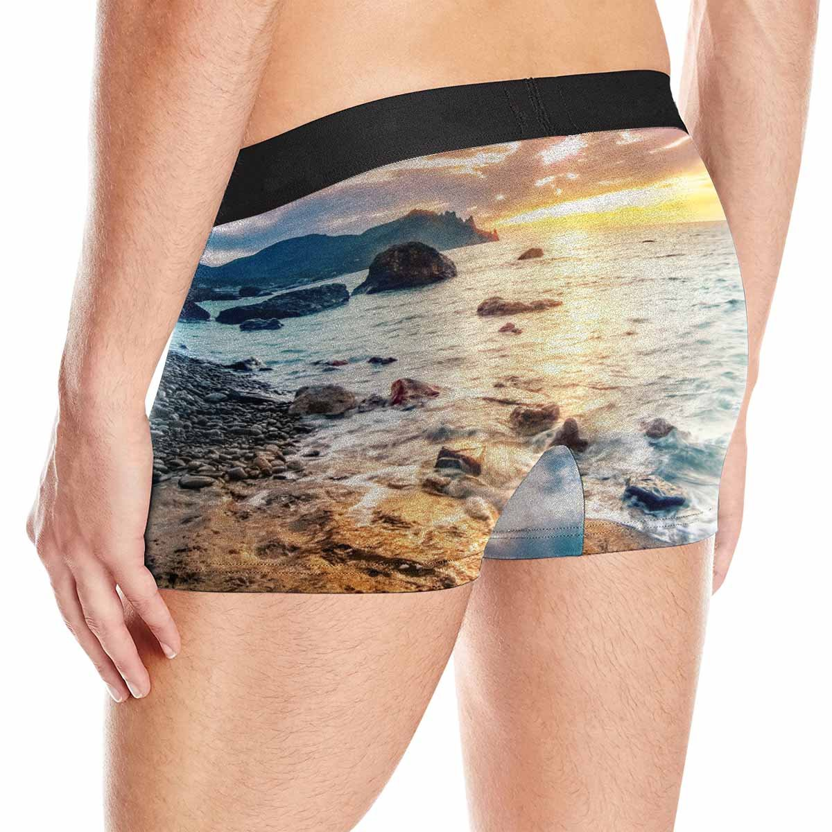 INTERESTPRINT Mens Boxer Briefs Underwear Beautiful Summer Seascape with Mountain and Waves XS-3XL