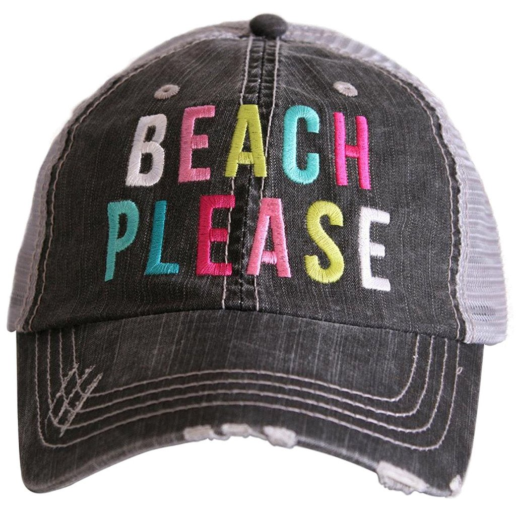 Katydid Beach Please Women's colorful Print Distressed Grey Trucker Hat (Multi)