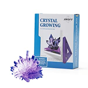 Swift Kids' 5-Piece Purple Crystal Growing Kit, Easy at-Home Chemistry Science Experiment for Children