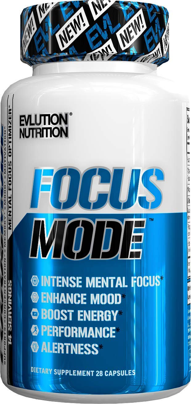 Evlution Nutrition Focus Mode, Natural Brain Function Support - Memory, Focus & Clarity Formula - Nootropic Scientifically Formulated for Optimal Neuro Performance* (14 Servings)