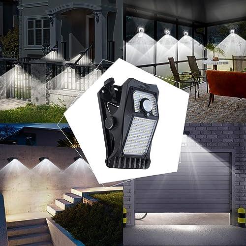 2 Pack Solar Lights Outdoor Motion Sensor, 3 Mounting Ways, 3 Mode Clip Light Wireless IP65 Waterproof Security Light for Deck, Fence, Wall, Garage, Patio, Front Door