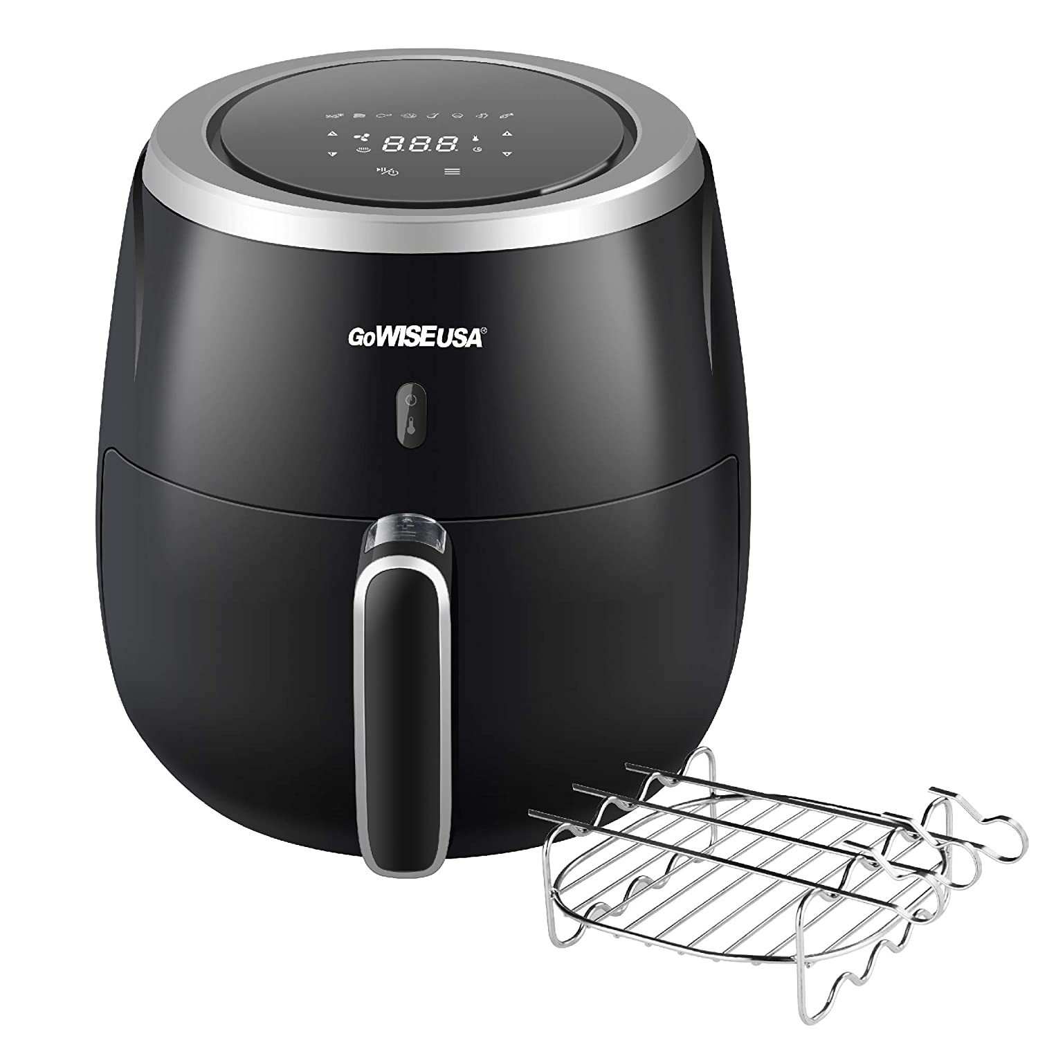 GoWISE USA 5.3-Quart Air Fryer with Kabob Rack, 8 Cooking Presets + 50 Recipes (Black)