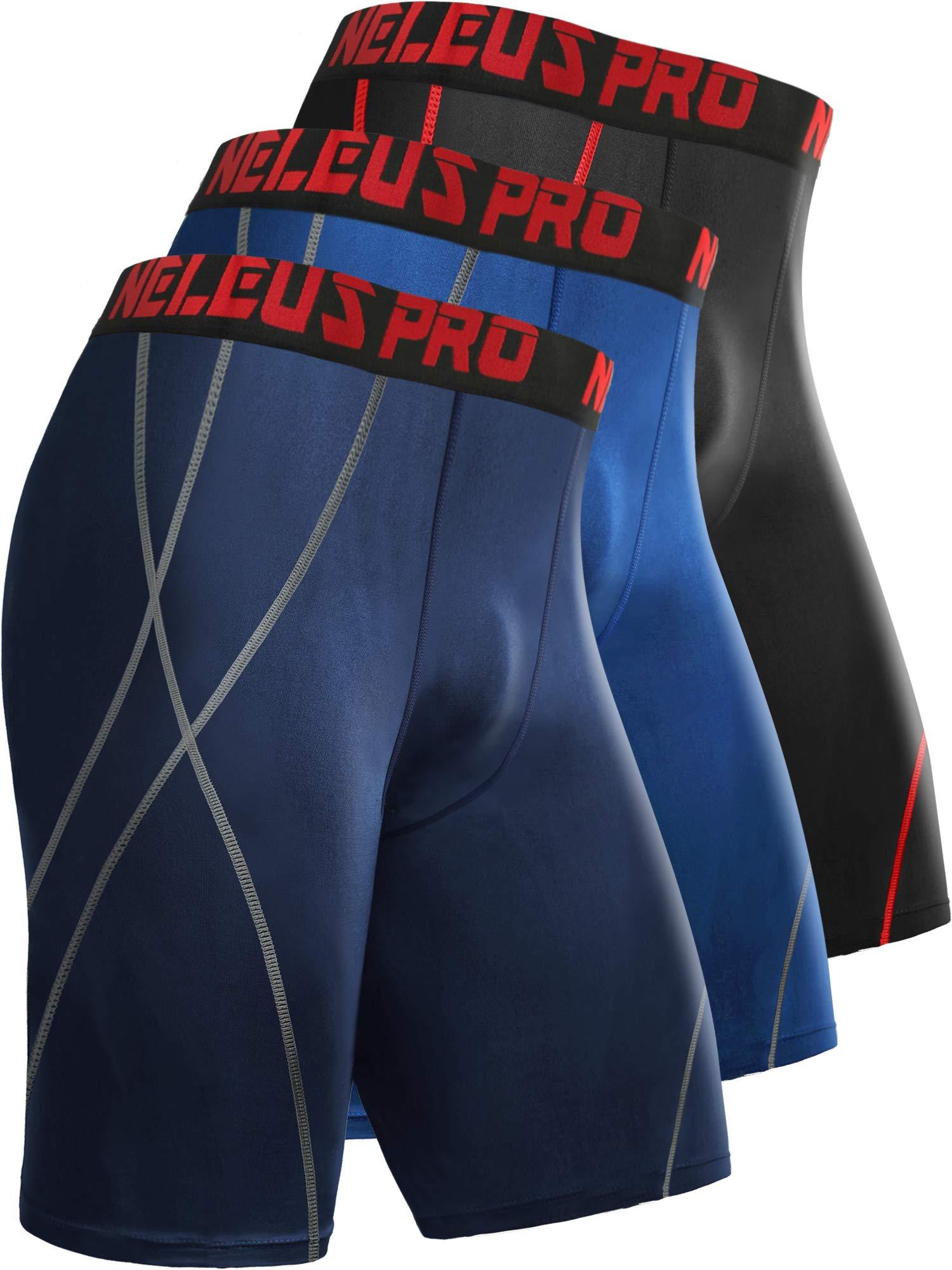 Neleus Men's 8 inch Compression Shorts,6010,3 Pack:Black,Blue,Navy Blue,XL,EU 2XL by Neleus