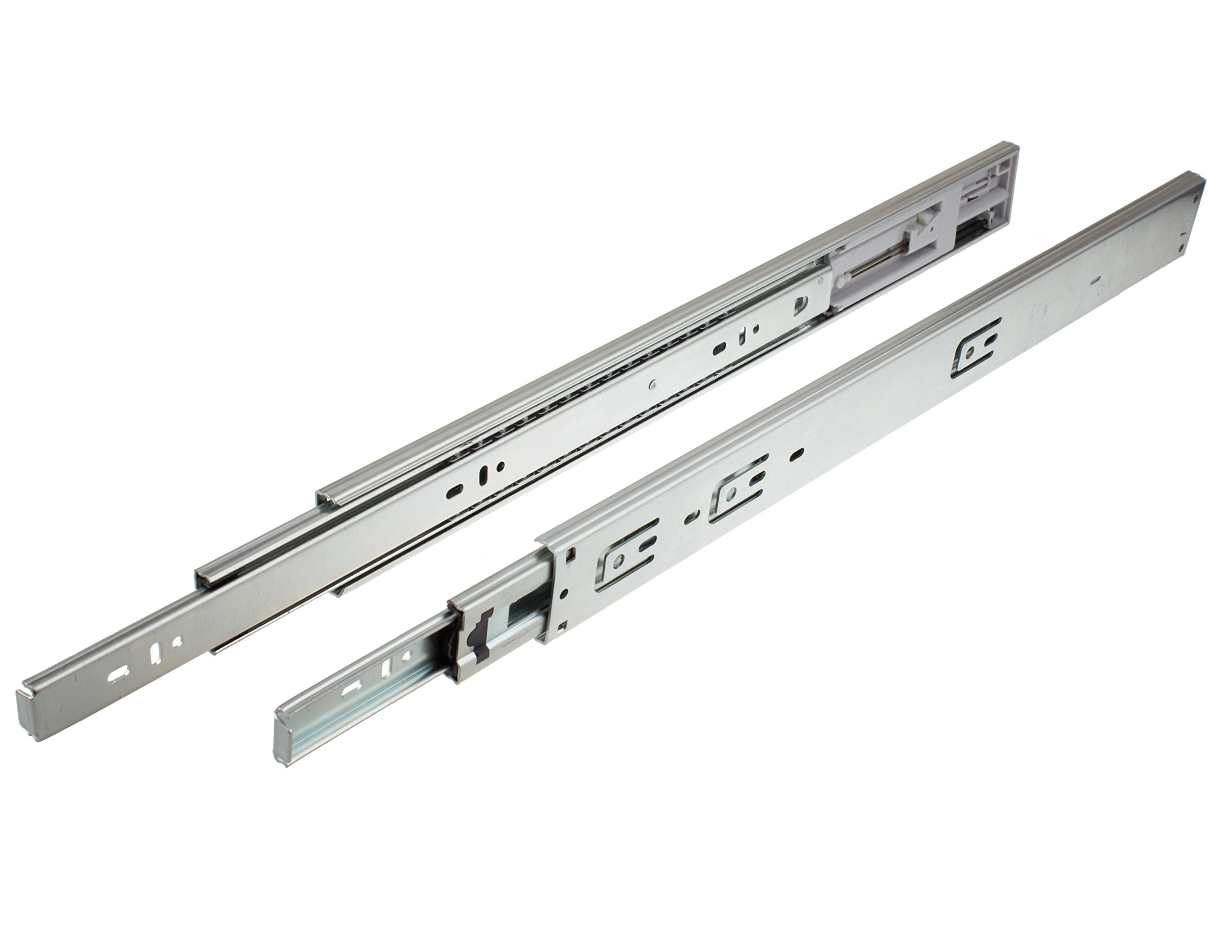 GlideRite Hardware 2075-ZC-10 20 inch 100 lb 10 Pack 20'' Side Mount Soft Close Full Extension Drawer Slides, Silver