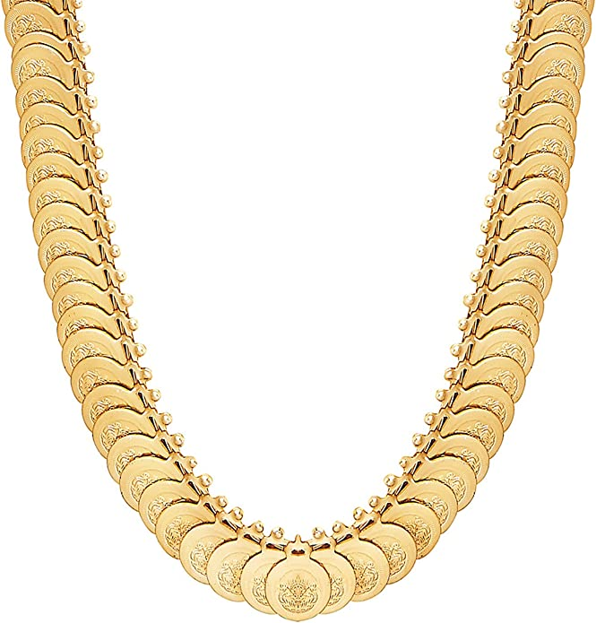 SJ/_2328 Bodha 18K Traditional Indian Gold Plated Coin Necklace Set for Women