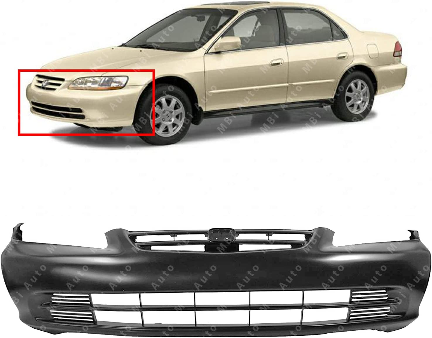 Front BUMPER COVER Primed for 2001-2002 Honda Accord