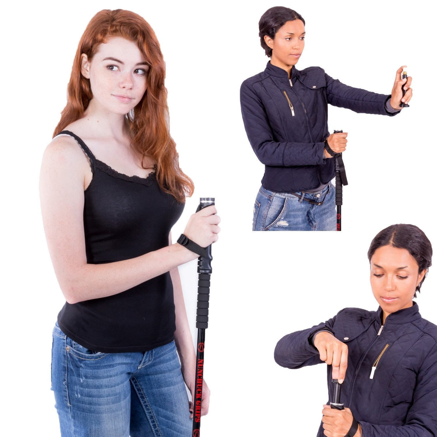 NUNCHUCK GRIPS – Hiking Walking Stick, Trekking Pole with Interchangeable Pepper Spray Accessory Hidden within the Grip, Single 1 stick