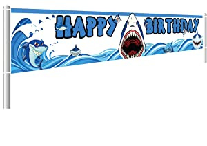 Colormoon Large Shark Birthday Party Banner, Shark Party Decorations, Blue Ocean Party Supplies Decorations, Baby Shower Birthday Party Decorations (9.8 x 1.5 feet)