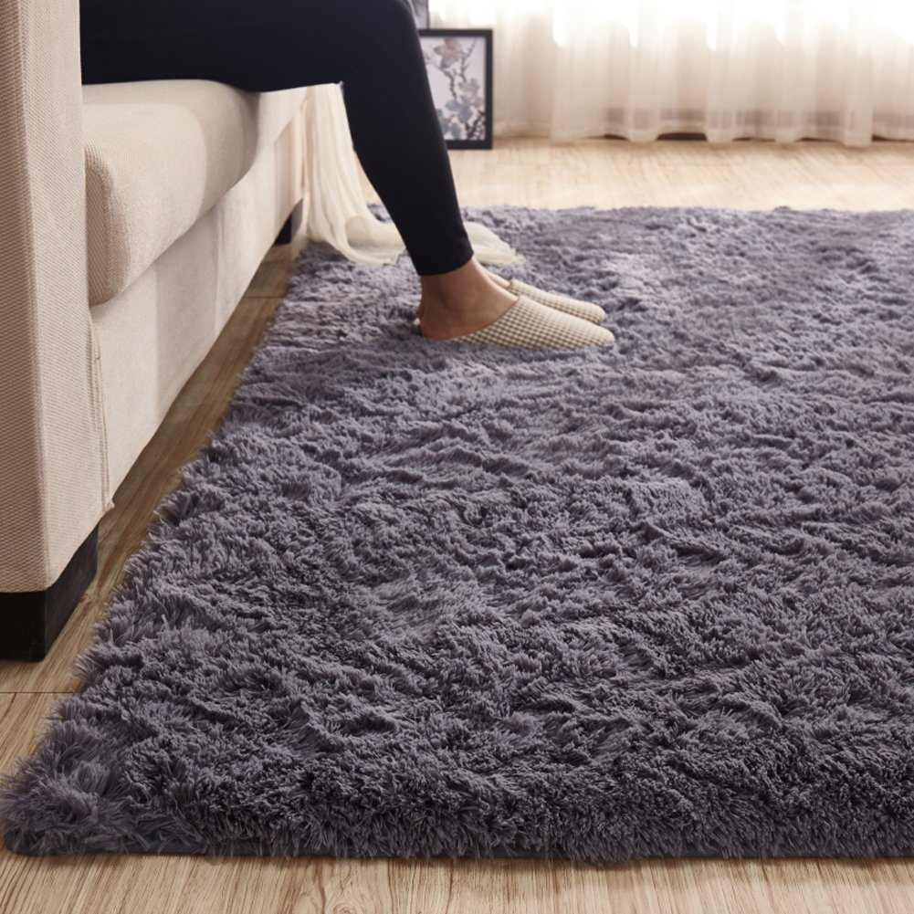 3.5 CM Height Solid Color Large Fluffy Shaggy Area Rug Anti-Skid Carpet, Ultra Soft Easy Care Rug for Bedroom/Living Room, 79 by 118 Inch by MAXYOYO