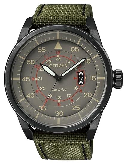 Citizen AW1365-01H - Reloj para hombres, correa de tela color verde: Amazon.es: Relojes