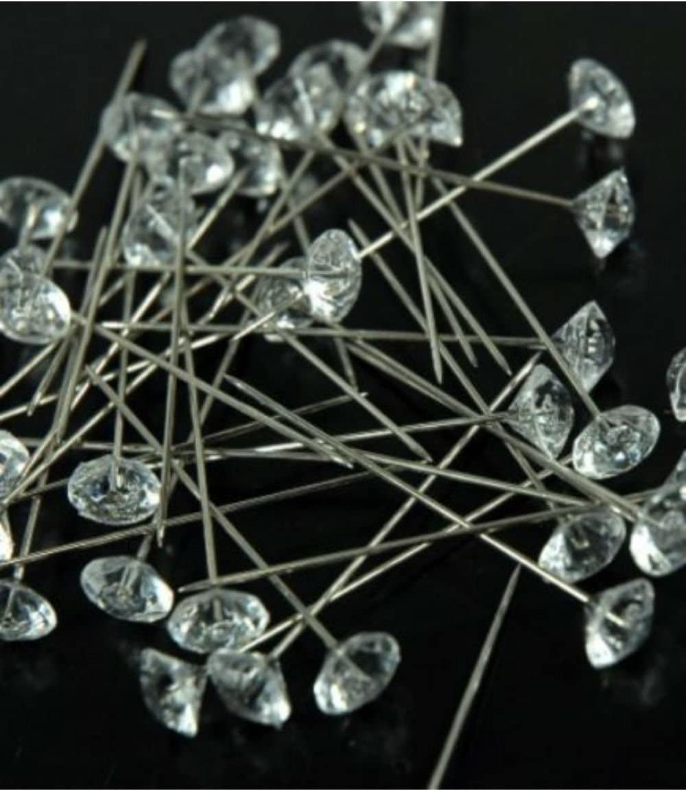 Apple Green CalCastle Crystal Diamante 2 Pins for Floral Craft Bouquet Bling 100 pcs//Box