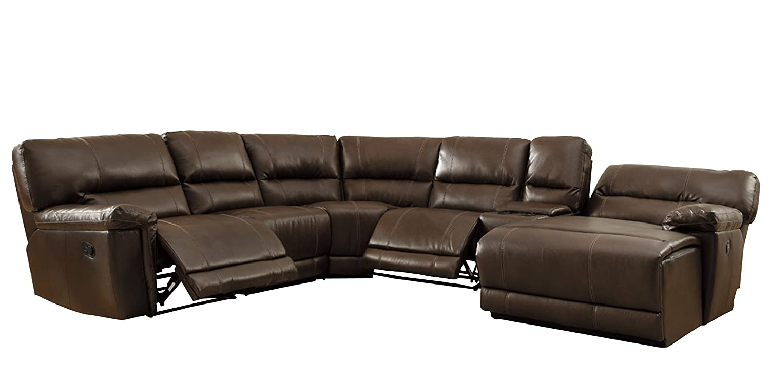Amazon.com Homelegance 6 Piece Bonded Leather Sectional Reclining Sofa with Chaise Brown Kitchen u0026 Dining  sc 1 st  Amazon.com : sectional recliner sofas with chaise - islam-shia.org