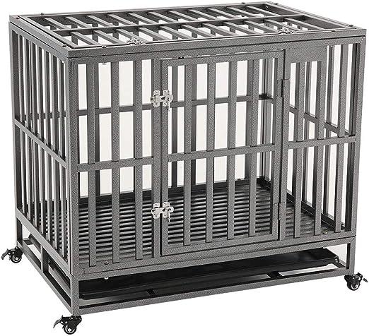 KELIXU Caja para perros de servicio pesado Jaula para perros grandes Perreras para perros grandes y jaulas para perros grandes Interior al aire libre con puertas, cerraduras y ruedas: Amazon.es: Hogar