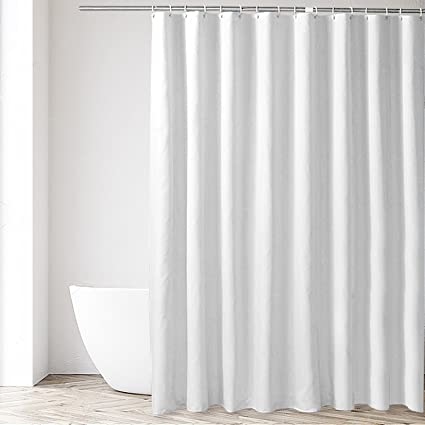 Attrayant Eforgift Shower Stall Curtain Liner Polyester Fabric Waterproof And  Anti Mildew Shower Curtain White Solid