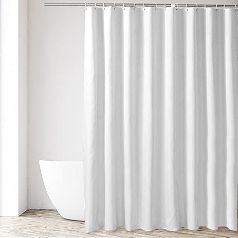 Eforgift Shower Stall Curtain Liner Polyester Fabric Waterproof And Anti Mildew White Solid