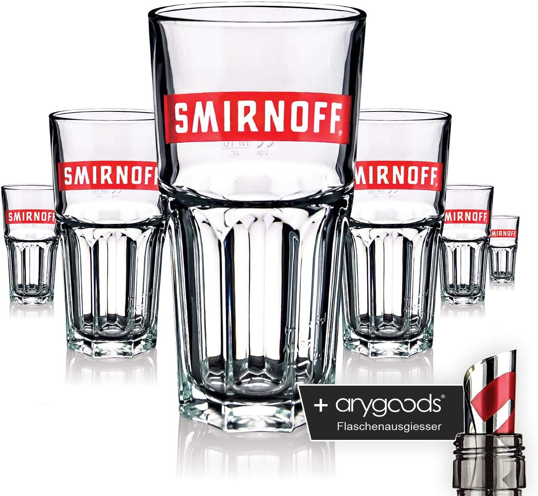 6 x Smirnoff Glas Gl/äser Longdrink red logo Gastro Bar Deko