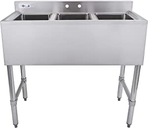 Profeeshaw 3 Compartment Sink Commercial Stainless Steel NSF Utility Basin with 10x14x10 Bowl for Kitchen or Bar in Home or Restaurant