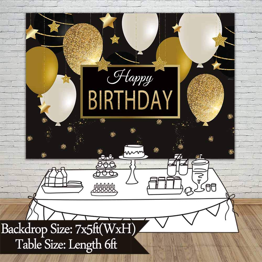 Allenjoy 7x5ft Happy 30th 40th 50th 60th Birthday Backdrop Black Gold Balloons Golden Glittering Sparkling Stars Men Women Bday Party Background Photo Studio Booth Kids Cake Table Banner by Allenjoy (Image #5)